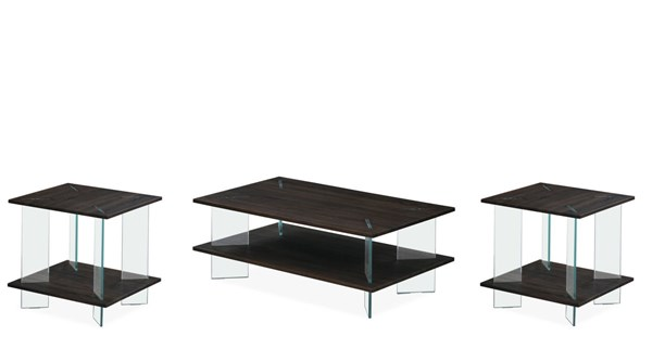 T1347 Series Wenge Tempered Glass Legs 3pc Coffee Table Set GL-T1347-OCT-S1