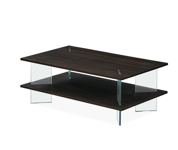 T1347 Series Wenge Tempered Glass Legs Rectangle Coffee Table GL-T1347C