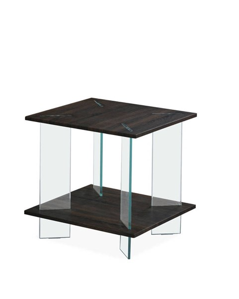 T1347 Series Wenge Tempered Glass Legs Square End Table GL-T1347E