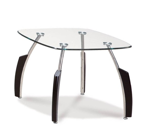 T138 Series Silver Black Glass Metal Wood End Table GL-T138BE-M