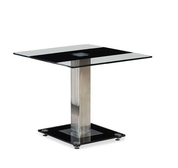 T2108 Series Black Silver Glass Stainless Steel End Table GL-T2108ET