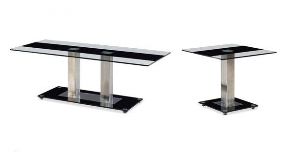 T2108 Series Black Silver Glass Stainless Steel Coffee Table Set GL-T2108-OCT
