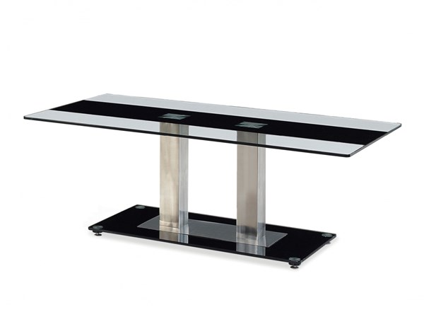 T2108 Series Black Silver Glass Stainless Steel Coffee Table GL-T2108CT