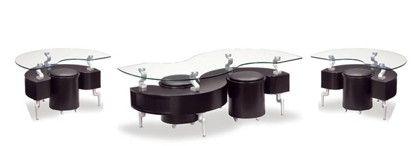 T288 Series Black Silver MDF Wood PVC Metal 3pc Coffee Table Set GL-T288-M-OCT-S1