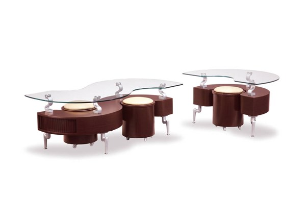 T288 Series Mahogany Silver MDF Wood PVC Metal 3pc Coffee Table Set GL-T288-M-OCT-S3