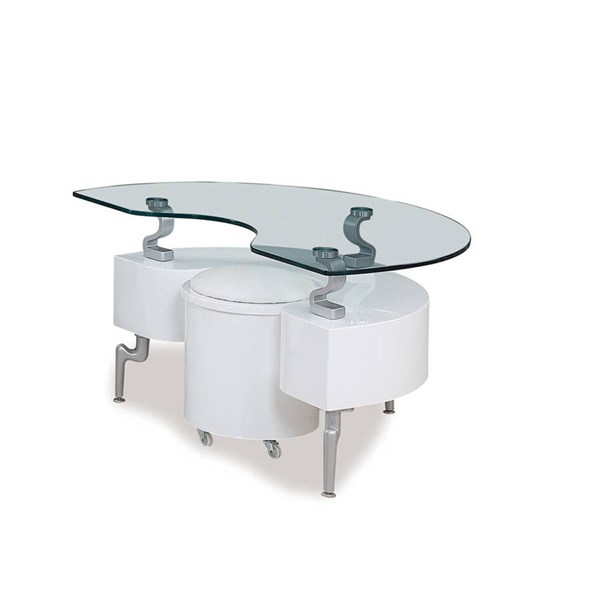T288 Series White Silver MDF Wood PVC Metal End Table GL-T288WHE-M
