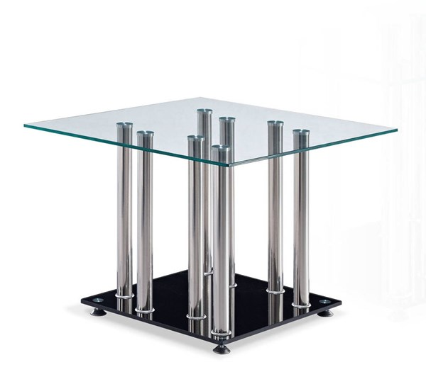 T368 Series Black Glass Stainless Steel End Table GL-T368ET-M