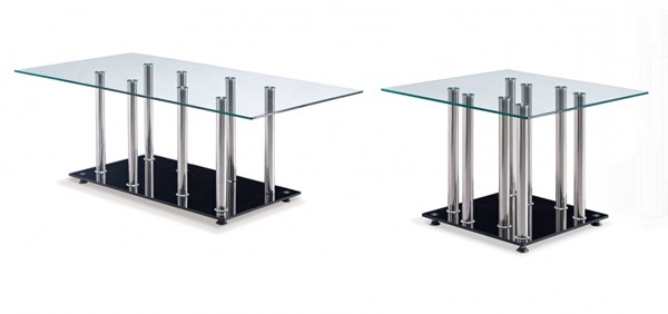 T368 Series Black Glass Stainless Steel 3pc Coffee Table Set GL-T368-M-OCT-S1
