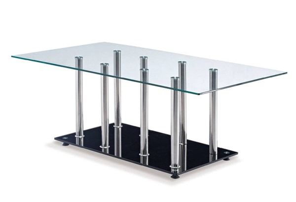 T368 Series Black Glass Stainless Steel Coffee Table GL-T368CT-M