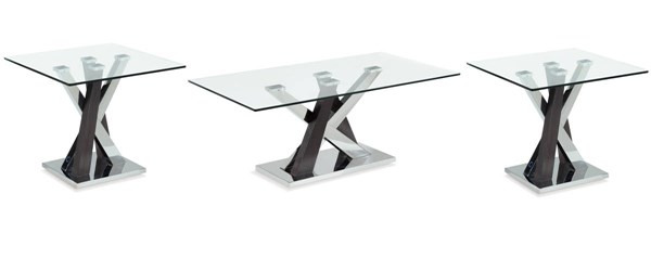 T4100 Series Wenge Glass Top 3pc Coffee Table Set GL-T4100-OCT-S1