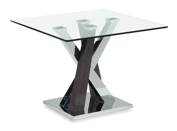 T4100 Series Wenge Glass Top Square End Table GL-T4100E