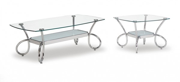 T559 Series Modern Silver Glass Metal Coffee Table Set GL-T559