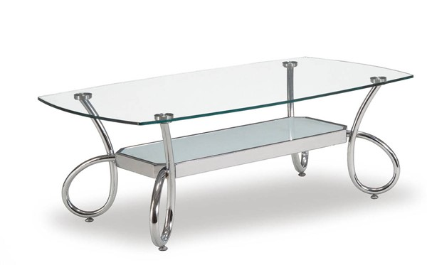 T559 Series Modern Silver Glass Metal Coffee Table GL-T559C