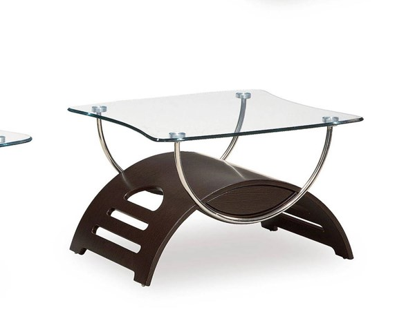 T63 Series Modern Wenge Glass Metal MDF Wood End Table GL-T63WE