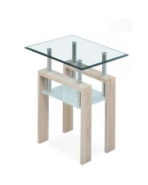 T647 Series Oak Paper Gl Top Square End Table