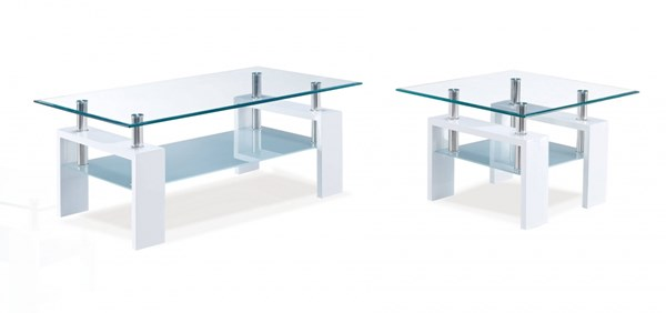 T648 Series Glossy White Glass MDF Wood 3pc Coffee Table Set GL-T648-OCT-S1
