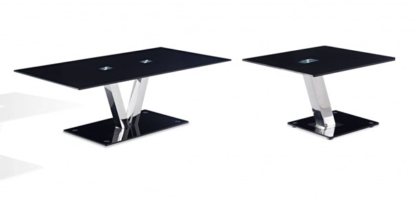 T655 Series Contemporary Black Glass 3pc Coffee Table Set GL-T655-OCT-S1