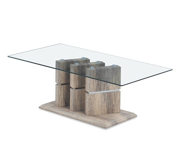 T662 Series Khaki Wood Grain Glass Top Coffee Table GL-T662C