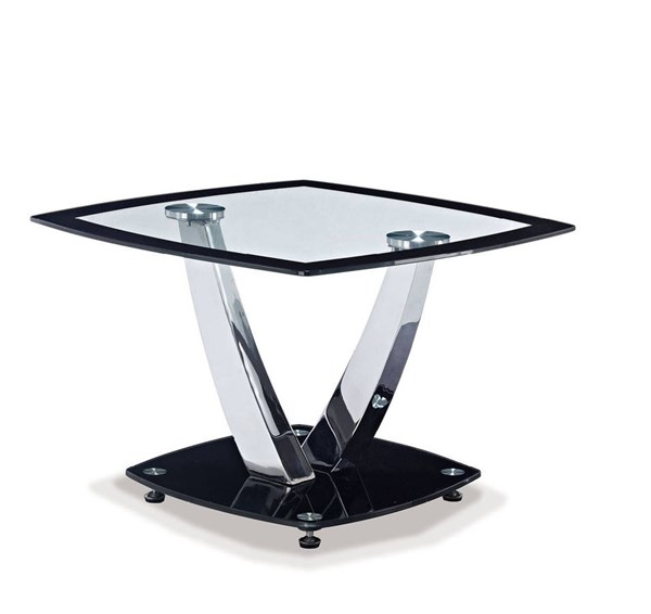 T716 Series Contemporary Black Glass Metal End Table GL-T716ET