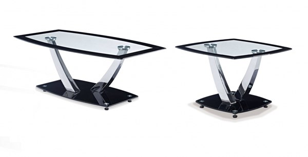 T716 Series Contemporary Black Glass Metal Coffee Table Set GL-T716-OCT