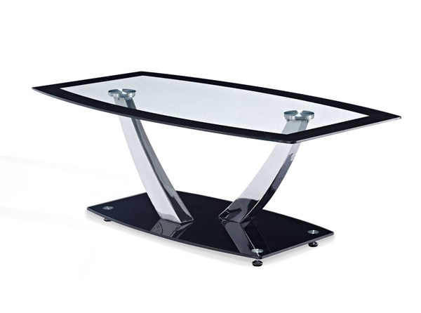 T716 Series Contemporary Black Glass Metal Coffee Table GL-T716CT
