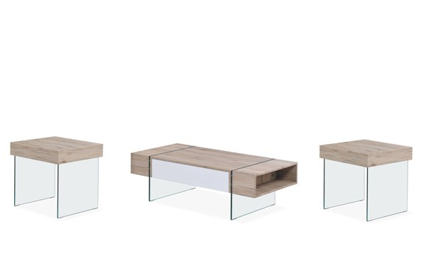 Sanremo Tempered Glass Legs 3pc Coffee Table Set GL-T80-OCT-S1
