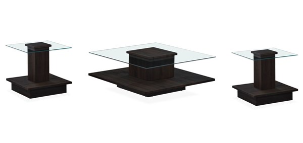 T95 Series Wenge Square Glass Top 3pc Coffee Table Set GL-T95-OCT-S1