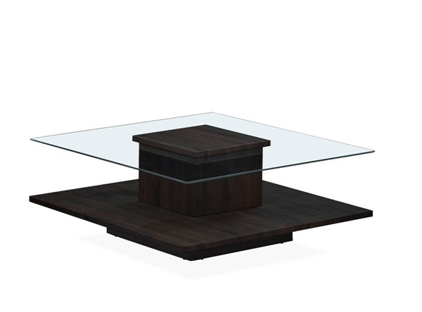 T95 Series Wenge Square Glass Top Coffee Table GL-T95C