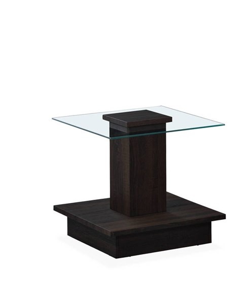 T95 Series Wenge Square Glass Top End Table GL-T95E