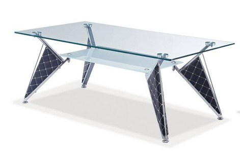 Black Metal Glass Rectangle Cocktail Table GL-TA107C