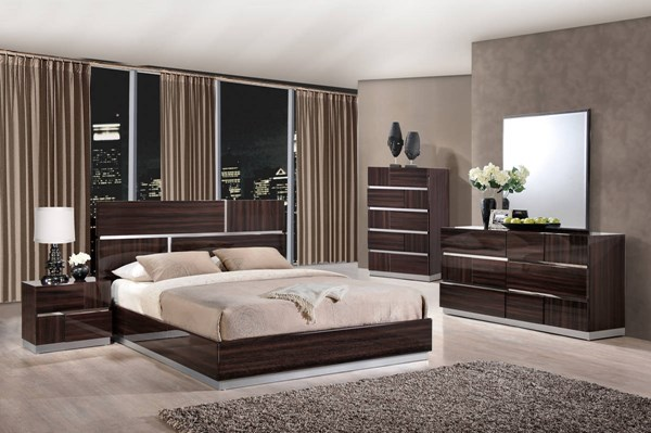 Tribeca Wood Grain High Gloss MDF 2pc Bedroom Set W/King Platform Bed GL-TRIBECA-110-BR-S1