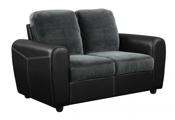 Gray PVC Loveseat w/Rounded Track Arms & Box Seats GL-U1305KD-CHMP-THU-L-M