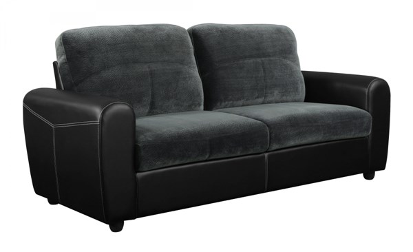 Gray PVC Sofa w/Rounded Track Arms & Box Seats GL-U1305KD-CHMP-THU-S-M