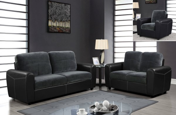 Gray PVC 3pc Living Room Set w/Rounded Track Arms & Box Seats GL-U1305KD-LR-S2