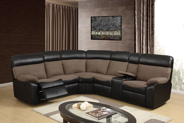 U1399 Series Brown Chocolate Fabric PU 3pc Sectional GL-U1399-SECTIONAL-M