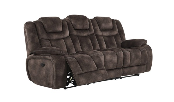 Global Furniture U1706 Chocolate Fabric Power Reclining Sofa GL-U1706-NIGHT-RANGE-CHOCOLATE-PRS-W-DDT-PHR