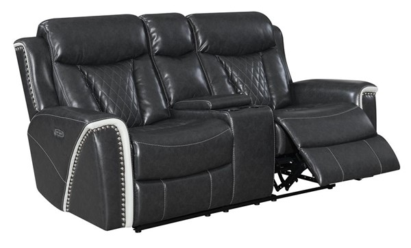 Global Furniture U1800 Dark Gray Leather Gel Power Console Reclining Loveseat GL-U1800-DTP932-7-PCRLS