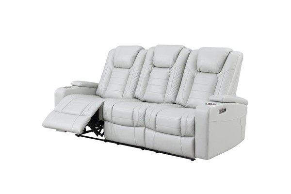 Global Furniture U1877 White Leather Power Reclining Sofa with Drop Down Table GL-U1877-BLANCHE-WHITE-PRS-W-PHR-DDT