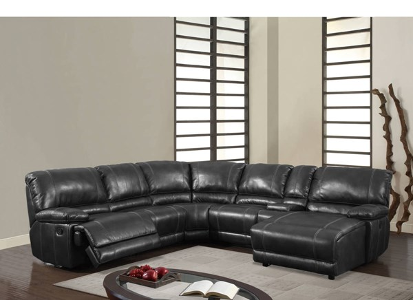 U1953 Series Black Bonded Leather 6pc Sectional GL-U1953-BL-SEC-LSF-W-POWER-M