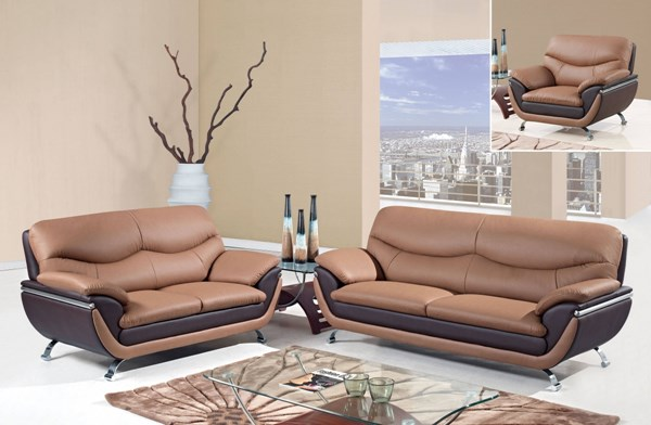U2106 Series Contemporary Tan Brown Bonded Leather 3pc Living Room Set GL-U2106-RV-LR-S1