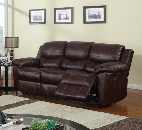 Brown Leather Cushion Back Reclining Sofa GL-U2128-SF