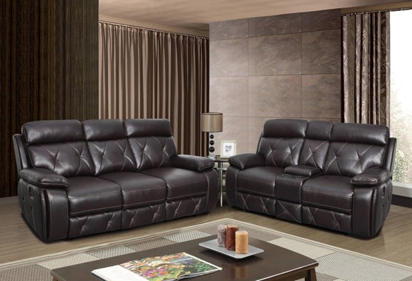 U2133 Series Agnes Walnut Leather Gel Living Room Set GL-U2133
