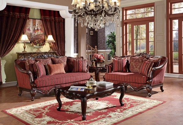 U2300 Series Red Fabric Solid Wood Living Room Set GL-U2300