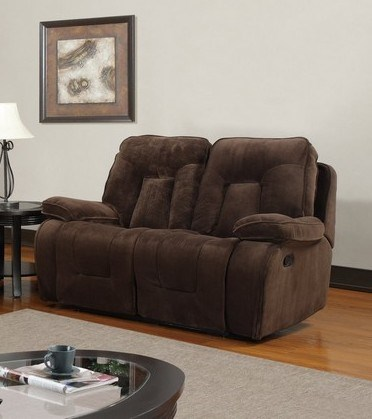 Champion Chocolate Wood Leather Reclining Loveseat GL-U3090-LS
