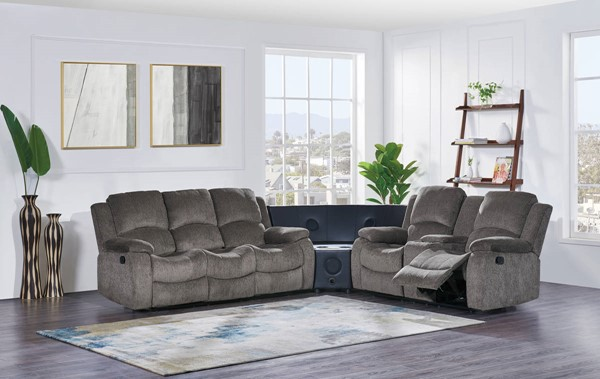 Global Furniture U3118C Mocha 3pc Sectional with Stereo GL-U3118C-SUBARU-MOCHA-STEREO-SECTIONAL