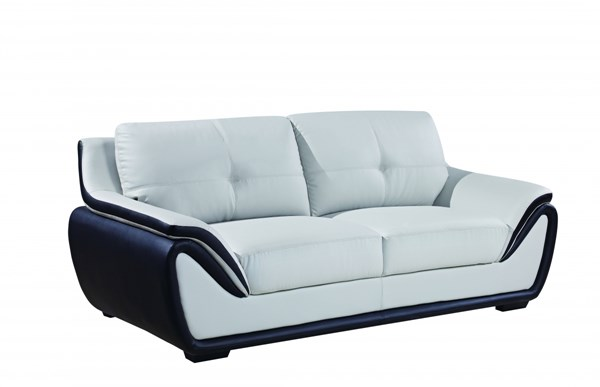 U3250 Series Natalie Light Grey Black Bonded Leather Sofa GL-U3250-R6U6-GR-BL-S-M