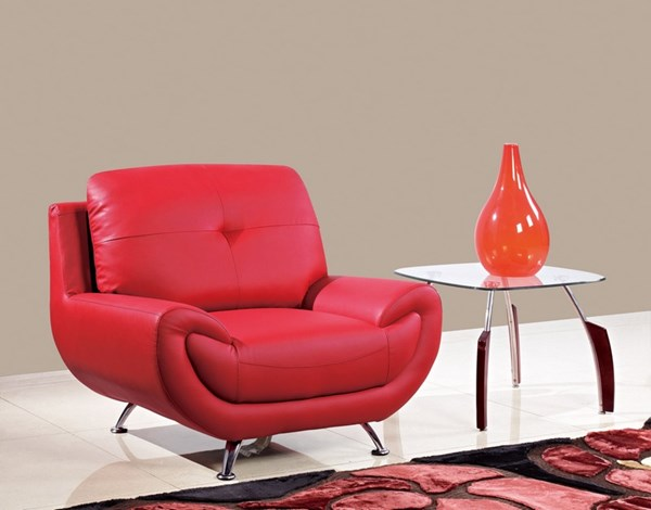 Red Wood Bonded Leather Tufted Back Chair GL-U4120-CH