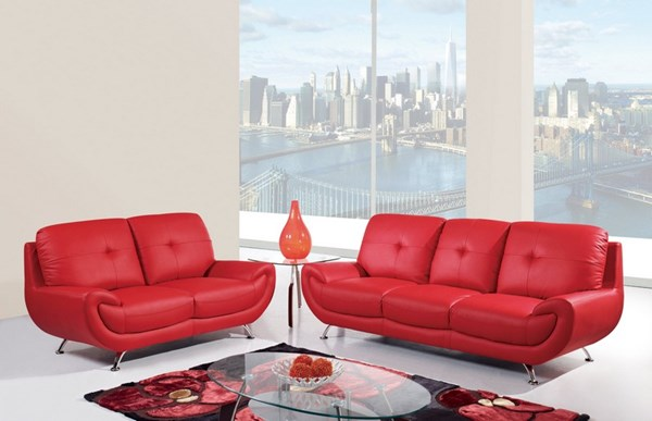 Red leather cushion back living room set the classy home - Red leather living room furniture set ...