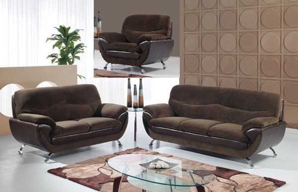 Champion Chocolate Wood Leather 3pc Living Room Set GL-U4160-CHO-SET