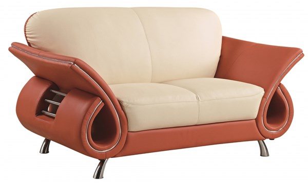 U559 Series Contemporary Orange Beige Leather Match Loveseat GL-U559-LV-L